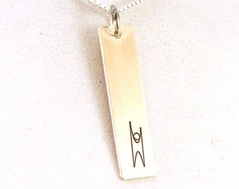 Humanist Necklace - Humanist Jewelry - Sterling Silver Jewelry - Humanist Rectangle Necklace