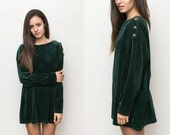 Velour Long Sleeve Mini Dress / Green Velvet Tunic Oversized Long Shirt Slouchy / Short Dress Free size Small Medium Large 90s Grunge