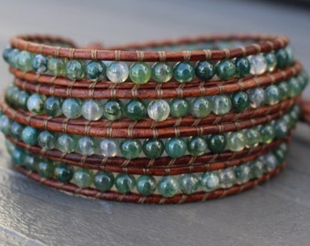 READY TO SHIP - Green Moss Agate 4x Beaded Leather Wrap Bracelet - Quad Wrap - Celtic Knot Button