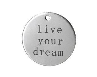 5 Live Your Dream Charms in Silver Tone - C2485