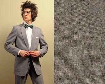mens vintage tweed suit silver gray brown elbow patch jacket HIS trad preppy vintage mens suit 40L 40 long 39L 39 long