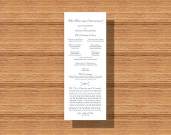 Wedding Program, Rustic Wedding Program, Printable Wedding Program, Elegant Wedding Program, Simple Wedding Program with Thank You Note