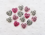 8pcs - Fancy Kitschy Monogram Heart Logo Mix Flatback Decoden Cabochon (20x19mm) LG10008