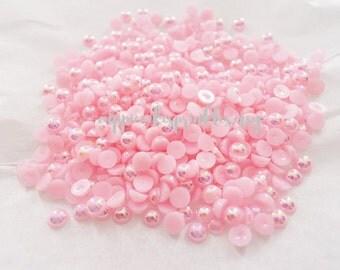 RESTOCKED 200pcs - 4mm Light Pink AB Pearl Flatback Decoden PE20004