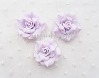 2pcs - Large Lavender Fancy Clay Rose Decoden Cabochon (45mm) FXL10011