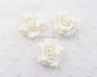 2pcs - Large White Fancy Clay Rose Decoden Cabochon (45mm) FXL10011
