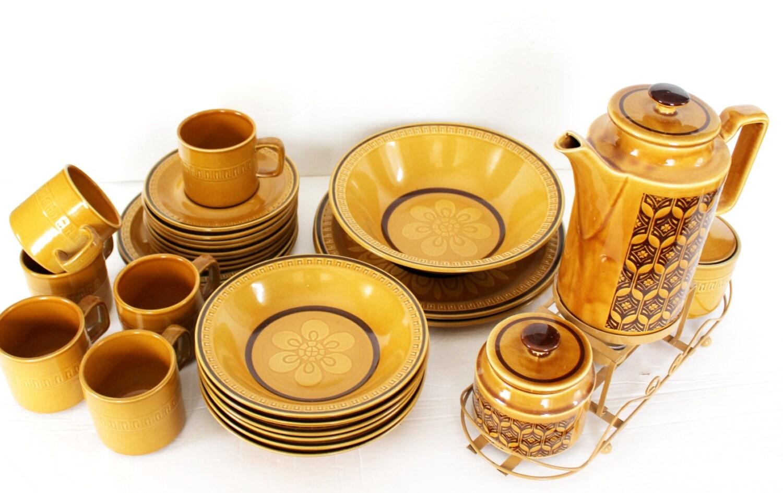 Vintage Japanese Stoneware Dinnerware Set Suzuka Stone Mosaic