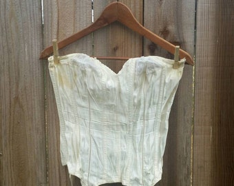 Gossard girdle, vintage girdle, vintage lingerie, shapwear, vintage corset, cream satin corset, satin girdle, 38-B girdle,