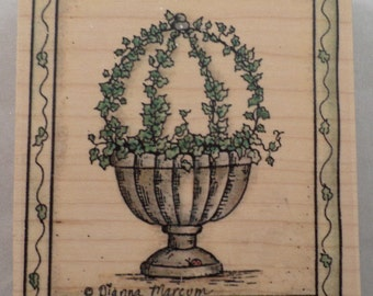Ivy Sphere Topiary Stampassions Garden Botanical Wooden Rubber Stamp