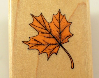 Hero Arts 1990 B128 Autumn Leaf Fall Wooden Rubber Stamp