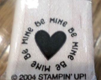 Stampin Up 2004 Be Mine Love Heart Valentine Words Phrase  Wooden Rubber Stamp