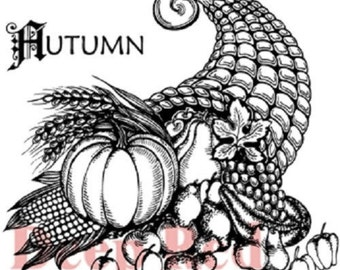 Deep Red Rubber Cling Stamp Autumn Harvest Cornucopia Thanksgiving