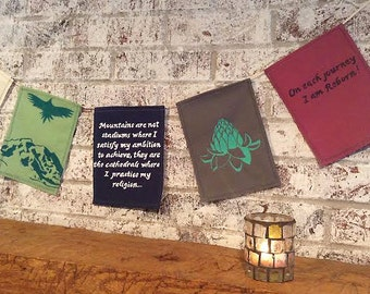 Mountain Climber Prayer Flag Set. Hiking Travel Gift.