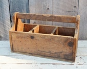 Vintage Wooden Tote Divided Caddy Three Cubbies Sections Carry Handle Handmade Primitive Rustic Farmhouse Tools Garden Storage