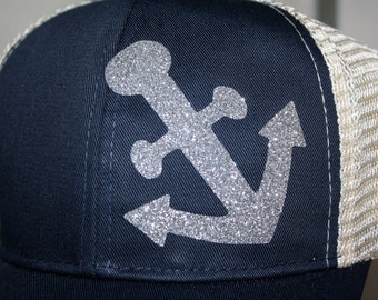 Silver Anchor Trucker Hat - 'Sparkly Anchor' Hat - Organic/ Recycled Material Hat