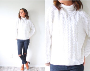 20% OFF HALLOWEEN SALE Vintage white high neck 90's sweater // cable knit sweater // boho navajo // Xs sweater // turtle neck bright white c