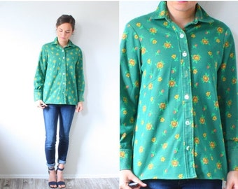 20% OFF VALENTINES SALE Vintage Boho green jacket // floral green jacket // floral 70's blouse // polyester blouse // small green top shirt