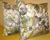 Order for two ivory white gray gold teal green black Flower pillow cover 18 X 18