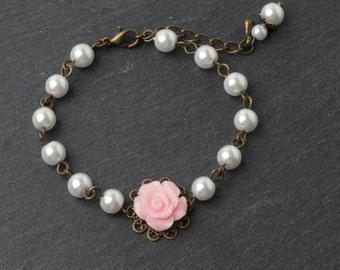 Pink Flower girl bracelet, pink and white, Flower girl gift, Junior bridesmaid gift, pink wedding jewelry, rustic wedding bracelet