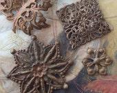 4 Vintage Stunning Old Brass RARE Ornate Floral Leaf Pendant Pieces