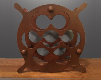 Mid Century Wine Bottle Rack Vintage Danish Modern 1950s 1960s