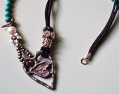 HOLD for MICHELE ARTISAN Heart Pewter Handmade Heart Necklace Genuine Turquoise Black Leather Pewter Bird