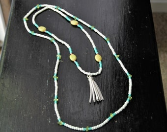 WHITE SEED BEAD Necklace Set of Two with White Tassel Turquoise and Lime Beads