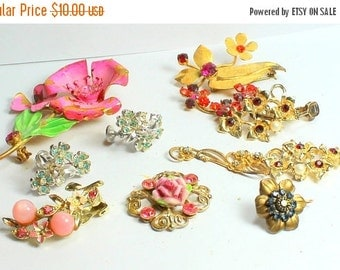 BIG SALE Shabby Chic  Lot of Vintage  and Salvaged Colorful Rhinestone and Pearl Flower Jewelry Parts and Pieces