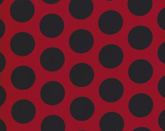 Red and Black Polka Dots on Cotton Lycra Jersey Knit