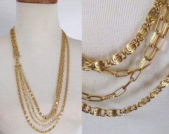 Gold Chain Necklaces. vintage 70s Multi Chain Layering Necklace. 4 Paperclip and Oval Chains. Gift for Girlfriend. Gift fo mom.