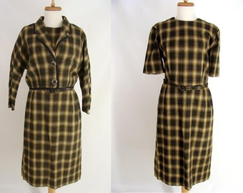 Fall Dress Suit. womens vintage 60s Dress. 2 pc Olive Green Brownish Plaid Sheath Dress and Jacket. mad men. secretary Misses size L or 12
