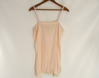 original vintage 20s Peach French Silk and Lace Step In Teddy. Chemise. Combination Undergarment. Flapper Budoir Decor