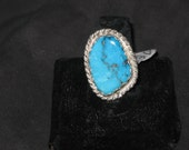 Turquoise Kingman free form Statement Ring size 8