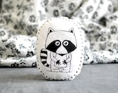 Stuffed pillow with RACCOON Decorative pillow Animal pillow Nursery decor Illustrated cushion Black white Scandinavian style