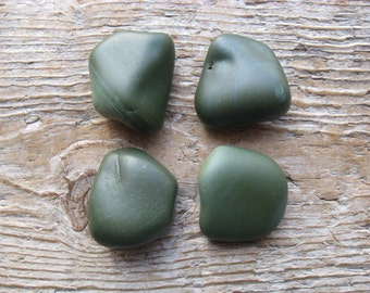 SLAG Beach STONE Cabinet KNOBS Green Beach Stone Drawer Pulls