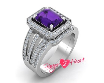 3.30Ct Purple CZ Emerald Cut Engagement Ring Set 925 Sterling Silver Wedding Band Bridal Ring Set 10K White Gold Finish Anniversary Ring Set