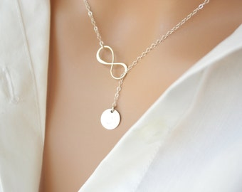 Sterling Silver Infinity Lariat Y necklace with Initial Disc, personalized necklace, style and number of disc to choose, sweet gift for her