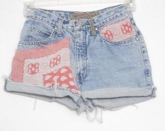 Levi's upcycled bandana scarf cowgirl jeans xs 0 1