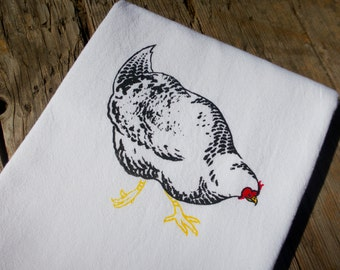 Chicken Flour Sack Dish Towel Barred Rock
