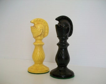 2 vintage cermic chess knight game pieces | vintage chess pieces | vintage knight chess piece | knights | game room decor vintage board game