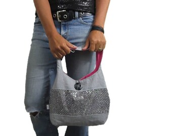 medium hobo bag in linen and sequins with button loop closure and interior pockets. ready to ship and sale priced.