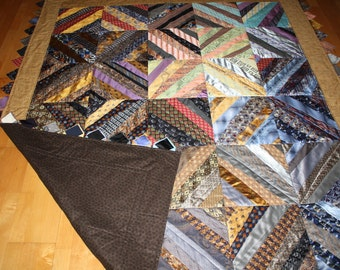 Necktie Quilt made using 40+ neckties