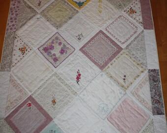 Unique vintage handkerchief quilt custom made