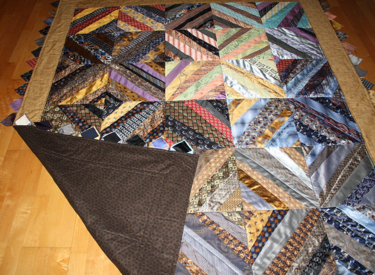 Necktie Quilt Made Using 40 Neckties