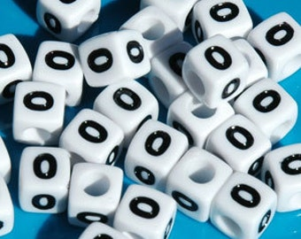 Number 0, 7x7mm Cube Beads Brite White with Glossy Black Number, 100pc