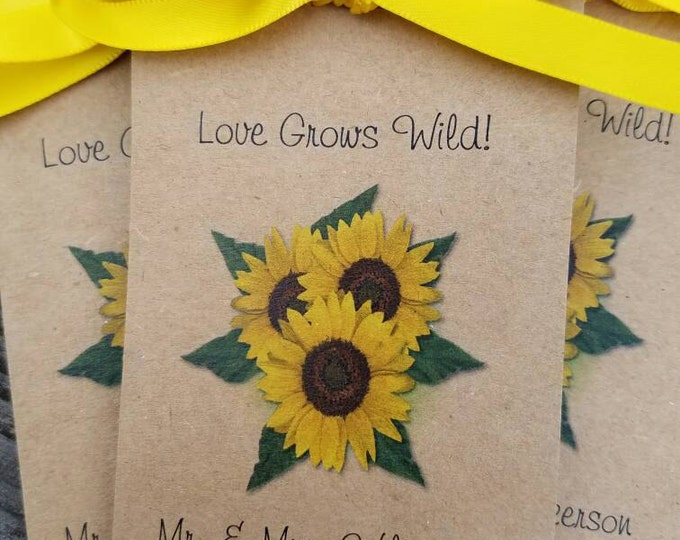 Rustic and Shabby Chic favors -Personalized Sunflowers Wedding Bridal Shower Favors Anniversary Seeds Engagement party Birthday keepsakes