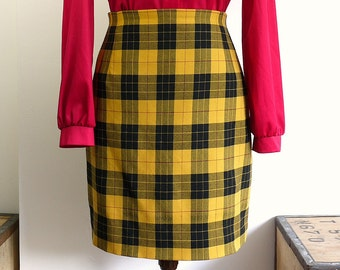 Vintage 80s 90s Preppy Yellow Tartan Plaid Mini Skirt - Clueless Skirt Pencil Skirt