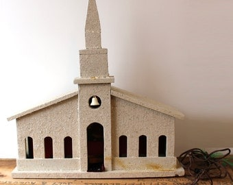 Vintage handmade church - white painted wood with mica snow glitter - 1950s Christmas decoration