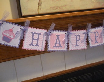 Cupcake birthday banner, cupcake pink chevron banner, cupcake lavender and pink birthday banner, Matching tissue poms are Available