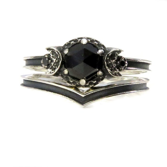 new moon black silver and spinel engagement rings with black